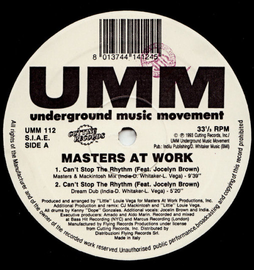 Masters At Work feat. Jocelyn Brown : Can't Stop The Rhythm (Masters & Mackintosh Mix)
