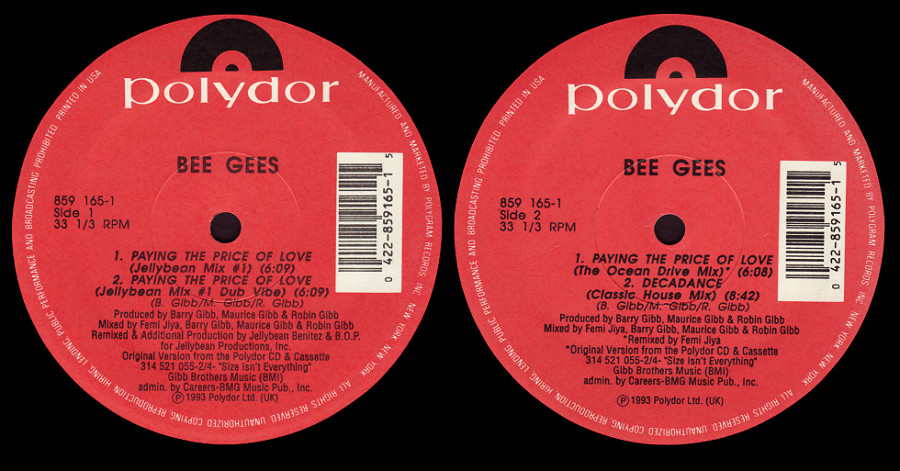 Bee Gees : Paying The Price Of Love (Jellybean & BOP)