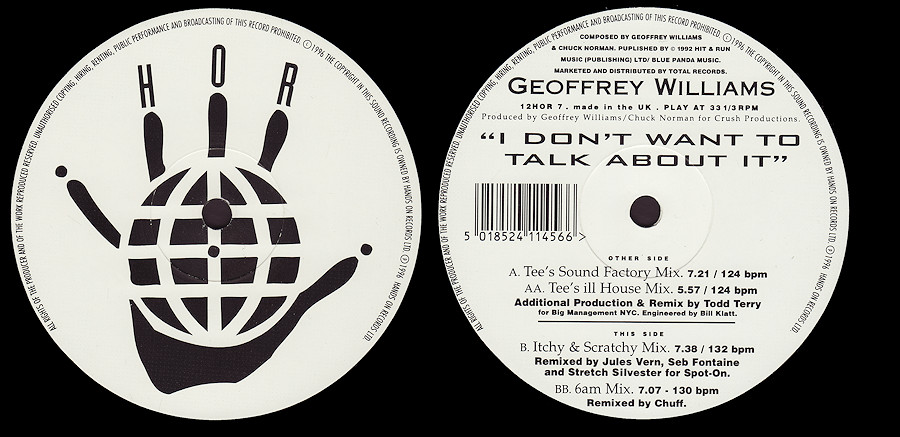 Geoffrey Williams : I Don't Want To Talk About It (Todd Terry)